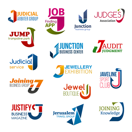 Corporate identity letter J business icons. Jurisprudence and job, entertainment and audit, jewellery and sport, fashion and typography, travel and education. Vector emblems, signs and symbols Reklamní fotografie - 121133792