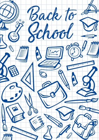 Back to School education stationery on checkered notebook pattern background. Vector Back to School poster with student bag, microscope or laptop computer and eraser, study books, pens and pencils Vector Illustratie