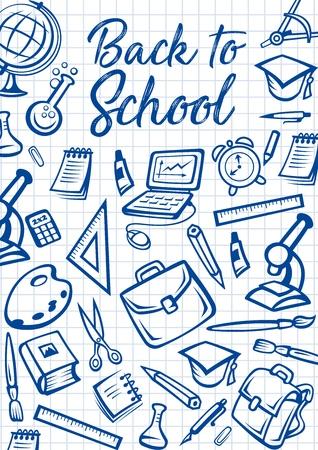 Papelería de regreso a la escuela sobre fondo cuadriculado de cuaderno. Cartel de regreso a la escuela de vector con bolso de estudiante, microscopio o computadora portátil y borrador, libros de estudio, bolígrafos y lápices Ilustración de vector