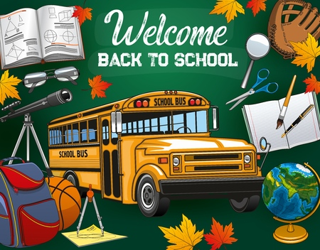 Bus and stationery tools, Back to school invitation. Vector welcome to school leaflet with autumn leaves, volleyball glove and scissors, globe and backpack. Compass and spyglass, glasses and pen