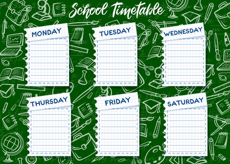 School timetable vector template. Weekly lesson schedule on student notebook paper sheets on green chalkboard background with chalk sketches of school supplies, education items and stationery