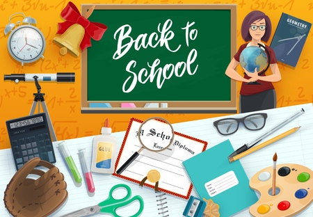 Chalkboard, teacher and student supplies vector design of Back to School theme. Notebook, book and globe, pencil, scissors and calculator, paint, brush and alarm clock, magnifier and compasses 向量圖像