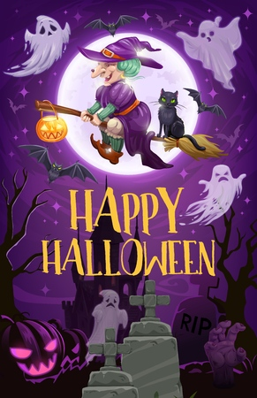 Halloween witch flying on broom vector design of sorceress with broomstick, black cat and pumpkin lantern, ghosts, bats and full moon, cemetery and zombie hand. Horror party invitation Illustration
