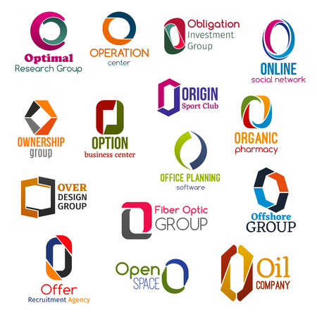 Corporate identity letter O business icons. Vector science and operation, finance and Internet, ownership and sport. Pharmacy and software or technology, recruitment or hiring and gasoline signs