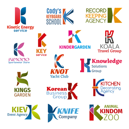 Corporate identity letter K business icons. Vector energy and education, record and sport, travel and sailing, knowledge and gardening. Decorating and event, entertainment and production, zoology,
