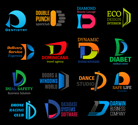 Letter D corporate identity icons. Business and medicine, sport and dentistry, database and design, delivery and traveling. Building goods and dancing, racing and technologies vector isolated