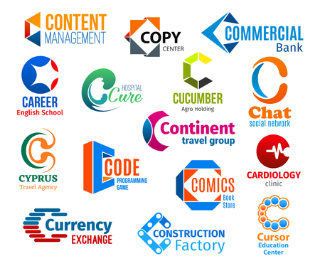 Corporate identity letter C business icons. Vector management, typography and banking, education, medicine and agriculture. Internet and travel. Technology and books, health and currency, construction