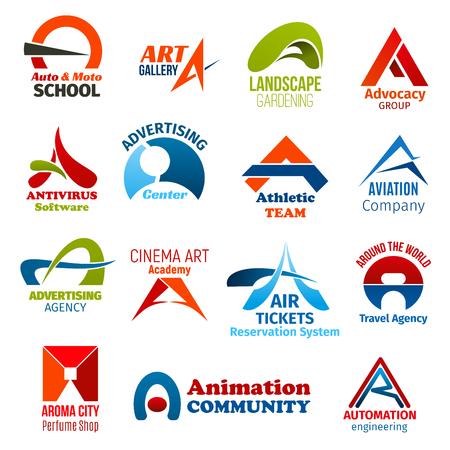 Lettre d'identité d'entreprise A icônes d'affaires. Conduite vectorielle et art, aménagement paysager, jurisprudence et logiciels, publicité, sport et transports, cinéma, voyages et parfumerie, animation et ingénierie