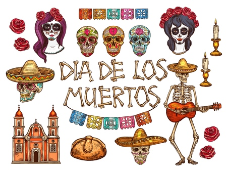 Dia de los Muertos Mexican traditional holiday sketch symbols. Vector calavera skull, papel picado paper garland. Muertos skeleton in sombrero with guitar and church candles