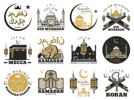 Islam muslim religion and arabic culture isolated symbols. Vector Ramadam Kareem holiday and Mecca Kaaba mosque, crescent moon and star. Lantern and Holy Quran, hamsa hand and arabic calligraphy