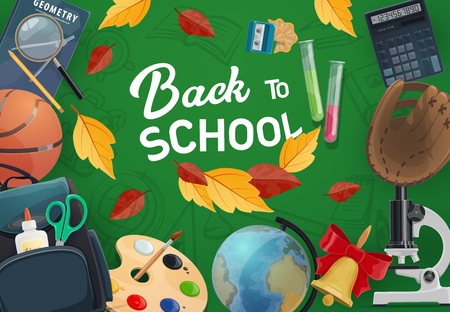 School supplies and student items vector frame on green chalkboard. Books, pencil and notebook, globe, backpack scissors, paint palette, brush and calculator, microscope, basketball and autumn leaves