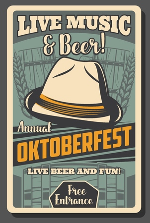 Oktoberfest German beer festival vector design with craft beer mugs, Bavarian felt hat, wooden barrel and rye or barley ears. Autumn fest of breweries drinks and restaurant food retro poster