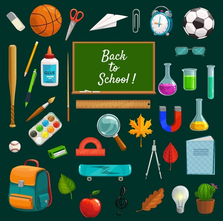 Stationary studying items and back to school lettering on blackboard. Vector physical training lessons equipment, chemistry tubes, physics magnets and magnifier. Backpack and apple, autumn leaves Vector Illustration
