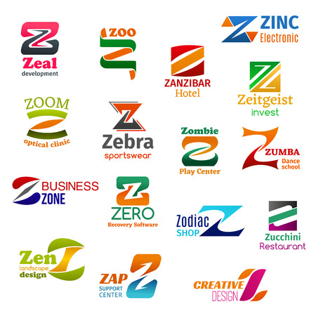 Corporate identity letter Z business icons. Vector development and zoology, recreation and technology, finance, medicine and fashion. Entertainment, education and software, shopping and food, design