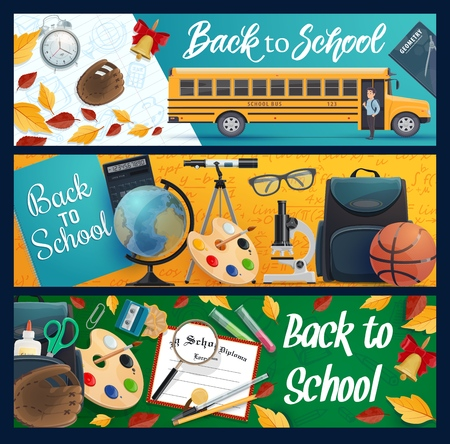 Back to School vector banners with school bus and student supplies, education design. Notebook, book and globe, pencil, scissors and backpack, pen, microscope and paint palette, alarm clock, telescope