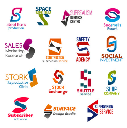 Corporate identity letter S business icons. Building and entrepreneurship, recreation, supervision and safety, finance, medicine and stock, software and design. Vector emblems, signs and symbols