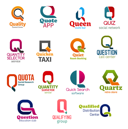 Corporate identity letter Q business icons. Technology and food, Internet and booking, support and research, software and shopping, education and distribution. Vector emblems, signs and symbols