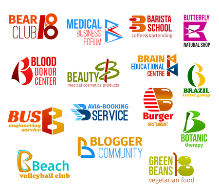 Corporate identity letter B business icons. Vector hunting and medicine, education and shopping, donation and beauty, travel and engineering. Transportation and food, botany and sport, blogging