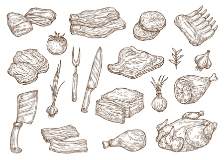 Meat food sketch, butchery products and barbecue cooking ingredients. Vector beef steak, pork ham and chicken or turkey meat with butcher knife and fork, bacon and veal bbq