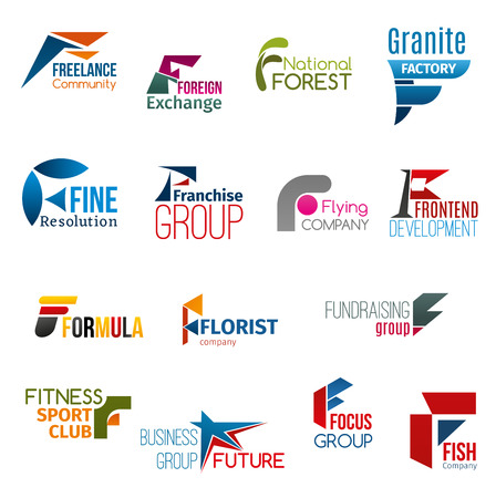 Corporate identity letter F business icons. Work or education, environment, production and marketing, finance, development, cosmetics and floristry, sport and seafood. Vector emblems, signs or symbols Vettoriali
