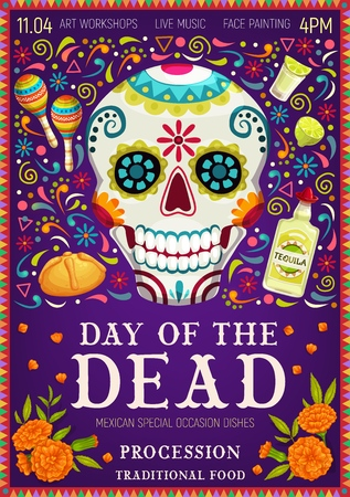 Saludos festivos mexicanos del Día de los Muertos y símbolos de celebración del Día de Muertos. Vector Dia de los Muertos calavera tradicional calavera con estampado de flores, tequila con maracas y flores de caléndula