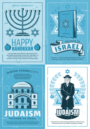 Judaism religion and Israel synagogue, Jewish culture and tradition posters. Vector Hanukkah Menorah, David Star or Torah and rabbi priest of Jewish religious community