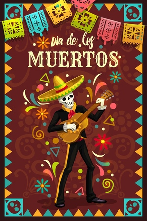 Dia de los Muertos skeleton skull playing guitar in mexican holiday mariachi sombrero and suit. Day of the Dead religion festival vector design with Halloween zombie musician and festive flags