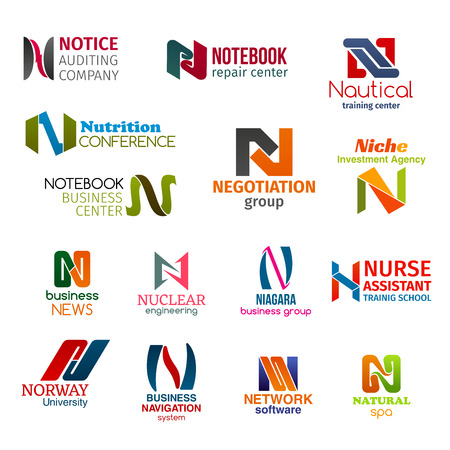 Corporate identity letter N business icons. Vector auditing and repair, training and food, negotiation and investment, news and engineering. Education and navigation, software and recreation, signs Standard-Bild - 121133824