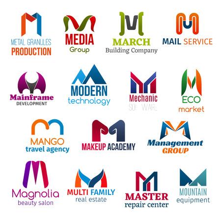 Huisstijl letter M bedrijfspictogrammen. Vectorproductie en media, gebouw, post en ontwikkeling, technologie. Monteur en ecologie, reizen, schoonheid en beheer, landgoed en reparatie, uitrusting