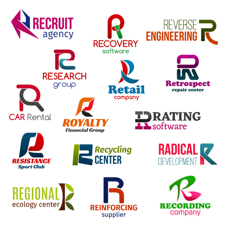 Corporate identity letter R business icons. Vector hiring, software and engineering, science and retail, repair, transport and finance, technology and sport, ecology and development, environment