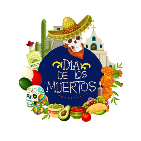Dia de los Muertos, Mexican holiday Day of Dead traditional celebration poster. Vector Dia de los Muertos calavera skull in Mexican sombrero, tequila and jalapeno pepper, candles and marigold flowers