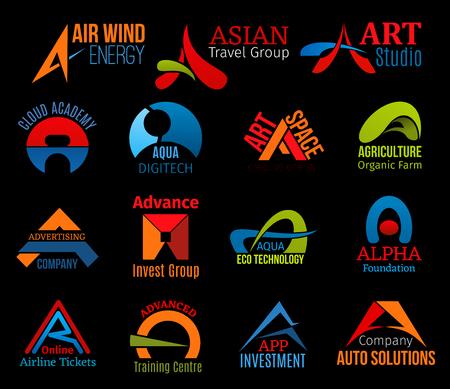 A letter icons for business of abstract design. Air and asian, art and academy, aqua and agriculture, advertising and advance, alpha and airline. Advanced or app, auto solutions badges vector isolated