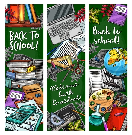 Back to School sketch banners, student education season stationery supplies and lesson books. Vector calculator, map globe or pens and pencils with watercolors and autumn leaves on green chalkboard Çizim