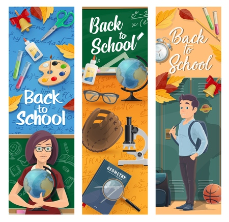Back to school vector banners of education design. Student and teacher at classroom with school supplies, book and notebook, chalkboard, scissors and backpack, globe, paint, pencil and microscope Illustration