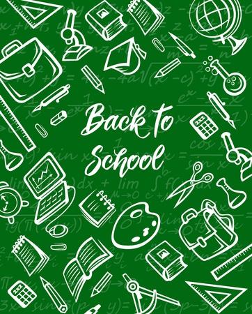 Suministros escolares y bocetos de tiza de artículos educativos en pizarra verde, diseño vectorial de regreso a la escuela. Cuaderno de estudiante, libro y lápiz, material de oficina, globo y bolígrafo, regla y paleta de pintura