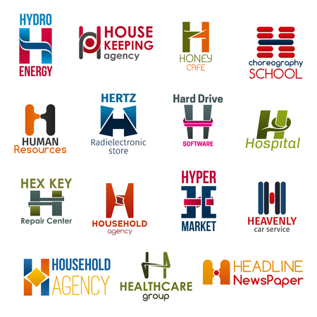 Corporate identity letter H business icons. Vector energy and housework, cafe and hobby, hiring, technology and software, medicine. Repair and cleaning, shopping and transport, health and typography
