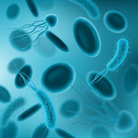 Bacterias, virus y gérmenes con glóbulos patrón transparente de vector 3d. Fondo de ciencia y medicina de microbiología con microorganismos nocivos y patógenos de enfermedades infecciosas Ilustración de vector