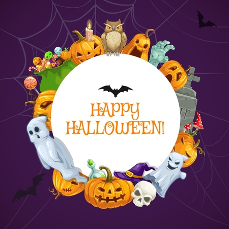 Halloween monsters, horror night party scary ghosts and spooky zombie. Vector Happy Halloween trick or treat holiday pumpkin lantern, witch hat and cemetery tombstone, candles and sweets in spider web Illustration
