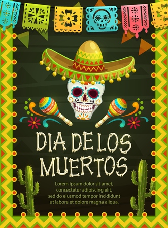Day of the Dead Mexican holiday party skull in sombrero Dia de los Muertos vector design. Mexico Halloween festival skeleton head with maracas, cactuses and festive flags in frame of hispanic pattern Иллюстрация