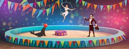 Arène de cirque et spectacle d'artistes. Dompteur d'animaux de cirque chapiteau vectoriel avec balle de jonglage de phoques, illusionniste magicien avec baguette magique et équilibriste sur cerceau aérien Vecteurs