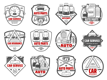 Auto spare parts and car accessory workshop icons. Vector tow belt, oils and chemical fluids, automotive service lung wrench tool and radiator, upholstery replacement and mechanic station sign