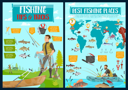 Fishing, hobby and sport fish catch. Vector fisherman with net and tackles or lures at lake or sea, seafood and fish catch of squid, pike or perch and marlin, shrimp and salmon on world map Foto de archivo - 123675923