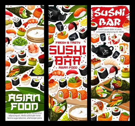 Japanese sushi bar banners of maki rolls, salmon and eel sashimi or tobiko ikura roll. Vector Asian cuisine restaurant suhsi and rice in nori, ebi shrimp or unagi temaki and inari futomaki Иллюстрация