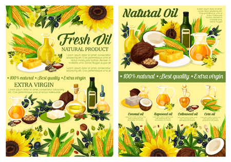 Natural cooking oils of sunflower, extra virgin olive and plants or nuts. Vector organic vegetable oil bottles of corn and coconut or linenseed, salad dressing and food cooking ingredients