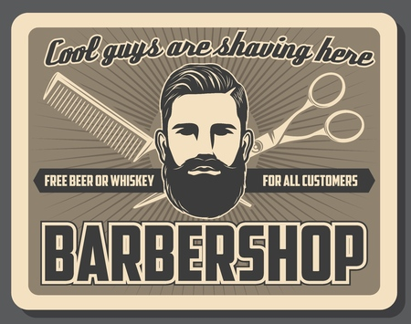 Barbershop mustache and beard razor shaving salon vintage poster. Vector gentlemen barber shop or hipster hairdresser, haircut scissors and hair trim comb or hairbrush Illustration