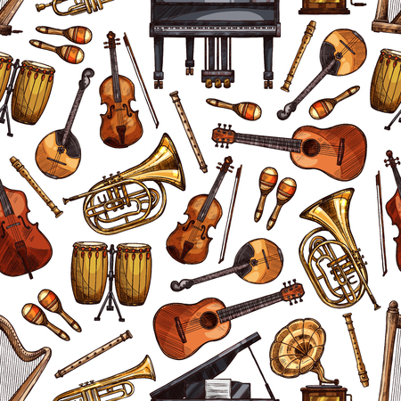 Music instruments seamless pattern background. Vector sketch piano, folk maracas and guitar or vintage phonograph or gramophone, orchestra trombone and harp, jembe drums and flute with violin fiddle