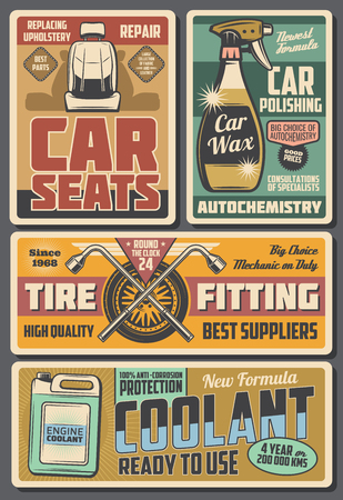 Car auto chemicals store, coolant and polishing wax. Vector vintage poster of vehicle service center and garage mechanic station, tire fitting, automotive accessories and spare parts Illustration