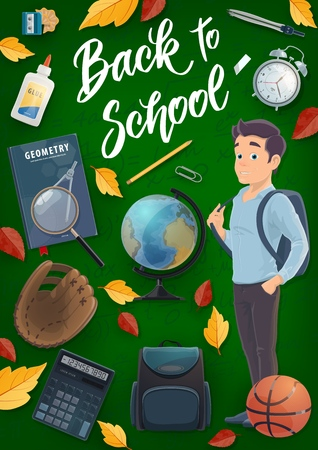 Student with school and education supplies vector design. Backpack, book and notebook, globe, pencil and calculator, alarm clock, basketball ball, baseball glove and sharpener on chalkboard background Stock Vector - 123124852