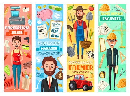 Farmer and engineer, seller and business manager professions banners. Vector cartoon professional worker tools, building winch or supermarket grocery and farming agriculture or office items Illustration