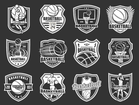 Basketball team badges, championship cup or team league icons. Vector basketball sport club symbols of player with ball on wings and victory award and scoreboard